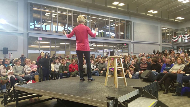Click to watch: New Hampshire resident Pedro asks Elizabeth Warren about criminal justice