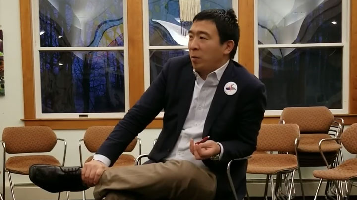 Click to watch: Andrew Yang responds to questions about drug decriminalization, private prisons and bail reform