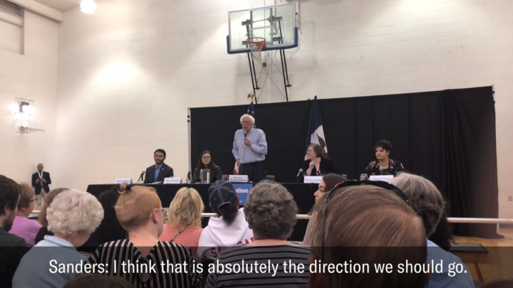 Click to watch: Bernie Sanders on restoring voting rights to current and formerly incarcerated people in Muscatine, IA