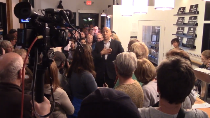 Click to watch: Cory Booker on criminal justice reform and reducing the prison population by half in Berlin, NH