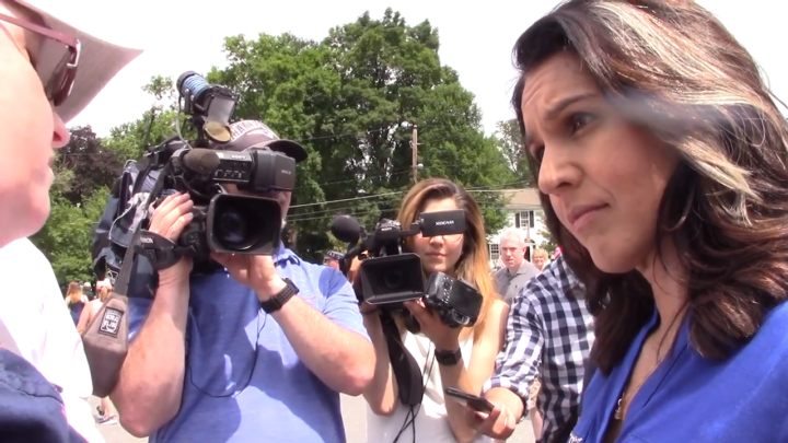 Click to watch: Tulsi Gabbard on committing to disentangling federal immigration enforcement with local authorities in Amherst, NH