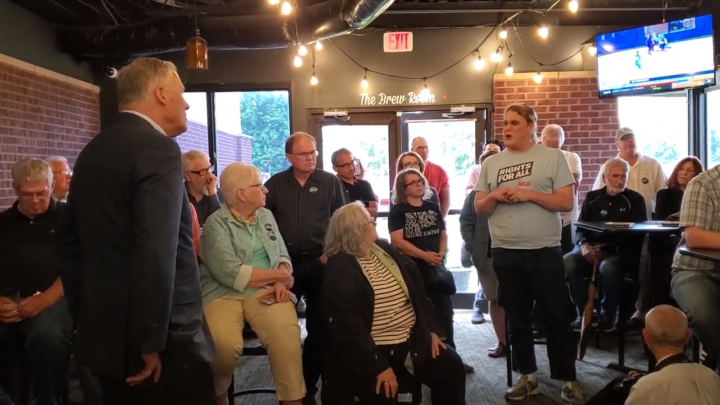 Click to watch: Jay Inslee on protecting the rights of transgender inmates in Urbandale, IA