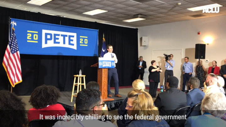 Click to watch: Pete Buttigieg on immigrants' rights and banning the use of detainers in Columbia, SC