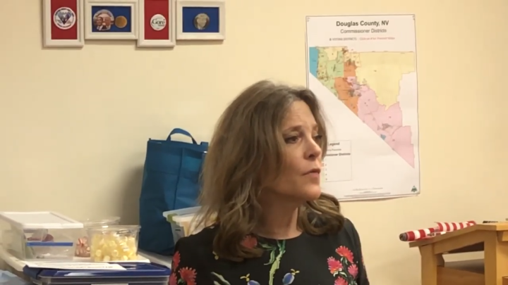 Click to watch: Marianne Williamson on committing to reducing immigration detention in Minden, NV