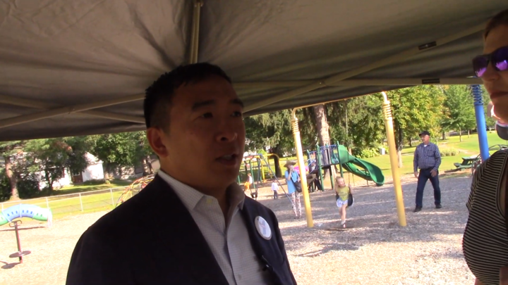 Click to watch: Andrew Yang on banning conversion therapy nationwide in Laconia, NH